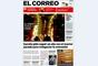 """'El Correo' abre con imagen del viaducto que ha sido cerrado. El titular va dedicado a la central nuclear de Garoña que """"pide seguir un año con el reactor parado para renegociar la concesión""""."""