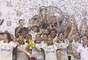 Em campo adversário, jogadores do Corinthians fizeram festa pela conquista