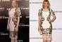 A atriz Emma Stone e a apresentador Hofit Golan optaram pelo mesmo vestido mídi em renda com estampa floral