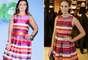 Fátima Bernardes e Marina Ruy Barbosa também escolheram o mesmo vestido com listras horizontais em diversas cores e saia rodada