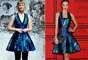 Os vestidos usados pela atriz Mia Wasikowska e pela top Miranda Kerr tinham decotes diferentes, mas modelagens parecidas e estampas iguais