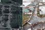 El aeropuerto de Tacloban quedó muy dañado por causa del tifón: edificios derrumbados, árboles cortados de raíz y vehículos volcados.
