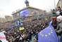 1º de dezembro - Manifestantes protestam em Kiev, na Ucrânia