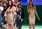 Fernanda Lima chamou atenção com o vestido Hervé Leger para Trash Chic, durante o sorteio da Copa do Mundo de 2014. Mas o modelo já havia sido usado por Catherine Zeta-Jones em 2007, durante o programa Late Show With David Letterman