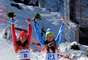 Dominique Gisin of Switzerland and Tina Maze of Slovenia win joint gold medals during the Alpine Skiing Women's Downhill. Bronze went to Lara Gut of Switzerland.