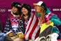 Bronze medalist Kelly Clark of the United States, gold medalist Kaitlyn Farrington of the United States and silver medalist Torah Bright of Australia after the women's halfpipe competition.