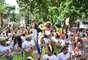 Pequenos contaram até com bateria para fazer barulho no início do Carnaval