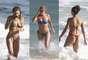 Grazi Massafera, Christine Fernandes e Sheron Menezes não perdem a oportunidade de tomar banho de mar para aplacar o calorão