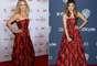 As atrizes AnnaSophia Robb e Noureen DeWulf apostaram no mesmo vestido, longo e em preto e vermelho, para diferentes ocasiões. As duas optaram por não usar acessórios, mas Noureen complementou o look com clutch preta