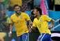 Neymar comemora gol de empate contra a Croácia na estreia do Brasil na Copa do Mundo
