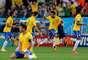 Neymar comemora gol de empate na estreia do Brasil na Copa do Mundo. Chute de perna esquerda do atacante marcou reação brasileira na vitória de 3 a 1 sobre a Croácia