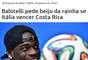 A vitória por 1 a 0 da Costa Rica sobre a Itália rendeu piadas na internet. Torcedores brincaram com a surpreendente campanha dos costarriquenhos e tiraram muito sarro dos tetracampeões do mundo, em especial Balotelli; veja memes