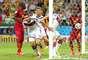 Klose comemora o gol de empate contra Gana, seu 15º em Copas do Mundo, igualando a marca do brasileiro Ronaldo