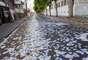 Em Franca, no interior de São Paulo, gari faz a limpeza da ruas tomadas por santinhos