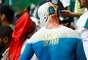 Torcedor pintou no corpo o símbolo da Copa na Rússia