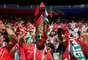 Torcedores portugueses no Estádio Lujniki antes do jogo contra Marrocos