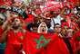 Marroquinos antes da partida entre Portugal e Marrocos na Copa