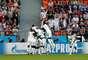 Time do Senegal comemora o gol de Mané contra o Japão