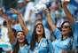 Uruguaias fazem a festa no Estádio de Samara antes do jogo entre Uruguai e Rússia