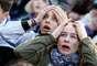 Torcedoras lamentam eliminação uruguaia em Montevidéu