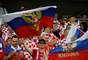 Torcida russa presente em Sochi para a partida entre Rússia e Croácia nas quartas de final da Copa