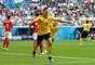 Meunier comemora seu gol, o primeiro da Bélgica sobre a Inglaterra na disputa do 3º lugar