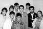 Década de 1980 - Junto com os garotos do grupo Menudo, em 1985, à época do 'Qual É A Música?'