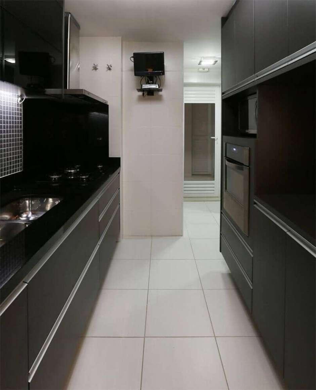 Cozinha Planejada Preta E Branca Cozinha Em Preto E Branco Com  ~ Cozinha Planejada Preta E Inox