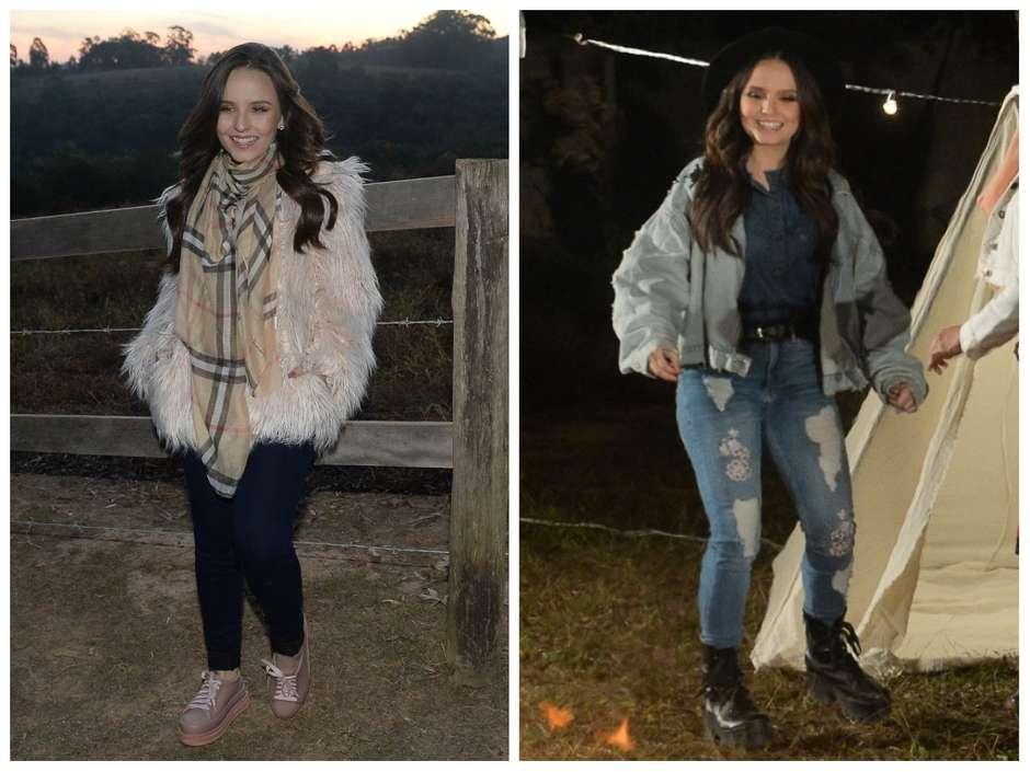 a92da58dd5481 Larissa Manoela veste look jeans em clipe de Zezé e Luciano