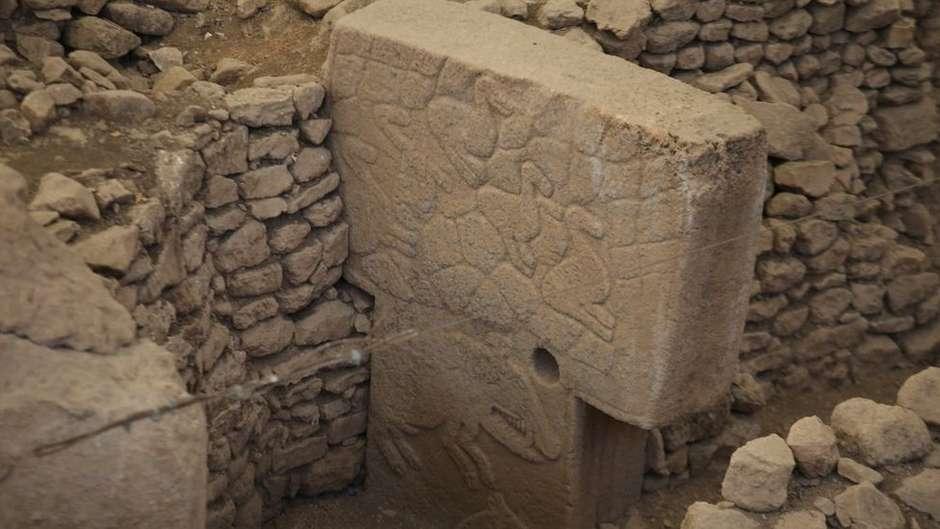 Muitos dos pilares estão adornados com imagens de animais selvagens