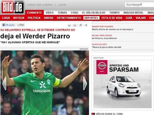 La prensa mundial informa sobre la salida de Claudio Pizaro del Werder Bremen de Alemania.