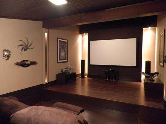 Sala De Tv Com Projetor ~ Para otimizar a projeção, é indicado comprar uma tela apropriada em