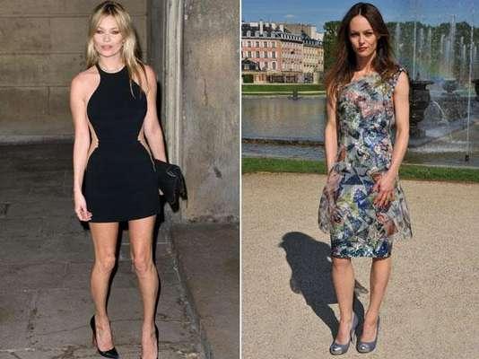 Kate Moss (38 anos) e Vanessa Paradis (39 anos): Kate Moss nunca deixou de ousar. A diferença entre a modelo e a atriz francesa Vanessa Paradis é que Moss sempre opta por modelos mais curtos e justinhos