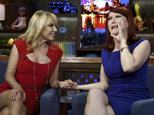 When you put a blonde and a redhead together, things can get wild. Check out these pics of 'The Real Housewives of New York City' star, Ramona Singer, and 'The Office' actress, Kate Flannery. The ladies had a hoot during their appearance on 'Watch What Happens: Live' this Monday, June 18, 2012. Who do you think is crazier: Ramona or Kate's 'Office' character?