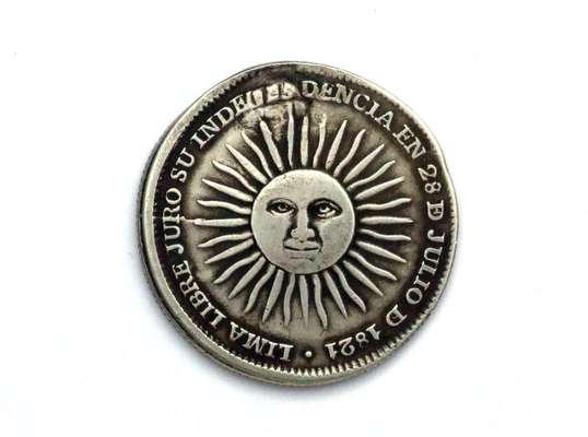 Lima libre juró su independencia en 28 de julio de 1821, dice la moneda