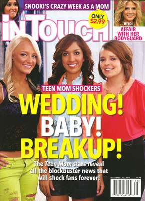 """OMG! The Teen Moms are givin' us somethin' to talk about. Apparently Farrah and her boyfriend, John, have split! Farrah told In Touch: """"What went wrong was that he was upset I wouldn't kiss him yet and make more time for him and move to LA."""" How ridiculous! """"I have my values in line and I stick to them. I'm happy I chose not to touch him or get serious with some guy who seems controlling & clingy,"""" added the reality star. You tell 'em, girl!"""