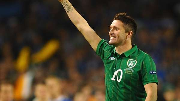 Robbie Keane scored on a penalty kick as Ireland defeated Kazakhstan 2-1 with two stoppage time goals.