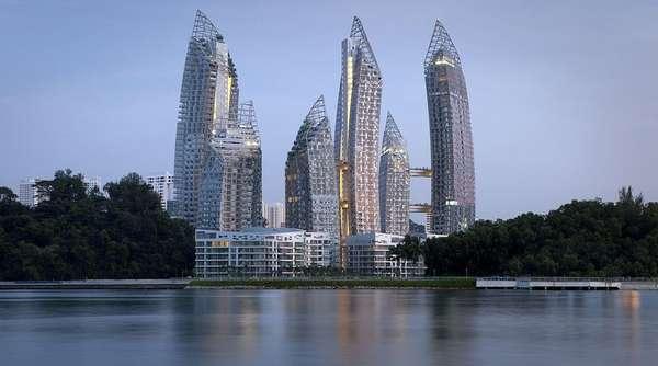"""Más de 300 proyectos fueron seleccionados en 33 categorías de los premios del Festival Internacional de Arquitectura. Los ganadores de cada categoría compiten, además, por el premio al Edificio del Año. """"Reflejos en la Bahía Keppel"""" es un complejo de rascacielos de dos millones de metros cuadrados en Singapur."""