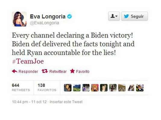 """Famosos y desconocidos ilustres llenaron las redes sociales con sus comentarios sobre el debate entre el vicepresidente Joe Biden y el contrincante republicano, Paul Ryan. Eva Longoria es una actriz que se autoproclama """"activista"""" y no duda de mostrar su preferencia por la dupla Obama-Biden. """"Todos los canales declaran la victoria de Biden"""", afirmó la actriz. Lo gracioso fue que alguien le contestó """"es que no estás mirando Fox News...""""."""