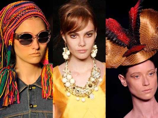 Ponchos, óculos escuros, colares e chapéus chamam a atenção dos acessórios no primeiro dia do Fashion Rio