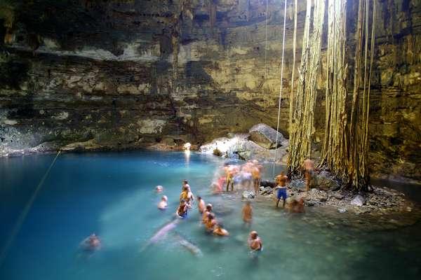 Cenotes são encontrados em mais de 7.000 pontos diferentes do México, principalmente em cidades arqueológicas na região do mar do Caribe