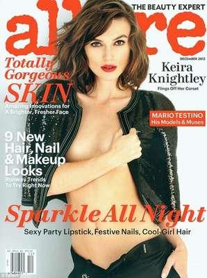Keira Knightley es portada de la revista Allure en su edición de diciembre. La actriz se destapa en un sensual topless e hizo para la publicación tremenda confesión acerca de sus pechos.