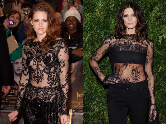 "Check yourself before you wreck yourself! Apparently ""Twilight"" stars, Kristen Stewart and Ashley Greene, didn't find out if they'd be wearing the same outfits, this week. Take a look at their oh-so-similar duds at different events. Kristen sported a provocative see-through outfit at the premiere of ""The Twilight Saga: Breaking Dawn Part 2"" in London, England this November 14, 2012. Her co-star, Ashley Greene wore a design that looked almost identical to Stewart's at the 2012 CFDA / Vogue Fashion Fund Awards in New York on November 13th. Which one do you like more? (Terra USA/Dennis Pastorizo)"