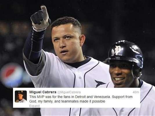 El venezolano Miguel Cabrera dio las gracias a sus followers y a su familia por haber ganado el MVP de la Liga Americana de la MLB.