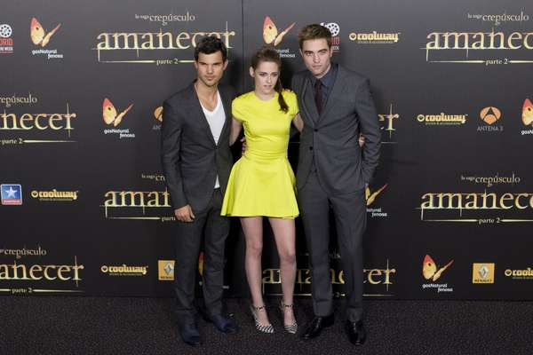 "NOVEMBER 15, 2012: Kristen Stewart is leaving VERY little to the imagination nowadays. The actress showed off her luscious legs at the premiere of ""The Twilight Saga: Breaking Dawn-Part 2"" in Madrid, Spain, alongside her co-stars Taylor Lautner and Robert Pattinson."
