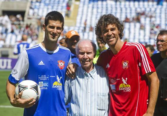 World No. 1 Novak Djokovic played in a charity match in Rio de Janeiro with former Brazilian soccer stars and former tennis star Gustavo 'Guga' Kuerten. Also Brazil legend, former player and coach Mario Lobo Zagallo was present.
