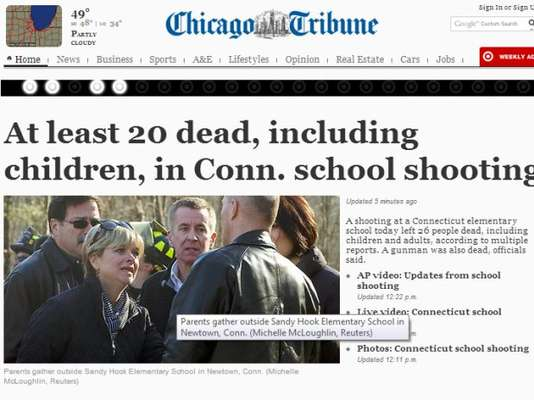 La masacre en Connecticut, donde murieron al menos 27 personas, entre ellos 18 niños, en una escuela de primaria de la ciudad de Newtown, le ha dado la vuelta al mundo. A continuación algunas de las portadas de los diarios más importantes de Latinoamérica, Estados Unidos y Londres. Foto: Chicago Tribune.
