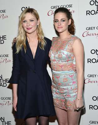 Kirsten Dunst and Kristen Stewart were hand in hand at the On The Road premiere in New York.