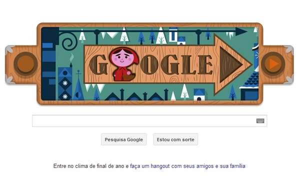 Contos dos irmãos Grimm ganharam homenagem especial do Google em um doodle pelos 200 anos de publicação. Chapeuzinho Vermelho é a história relatada no logo do buscador