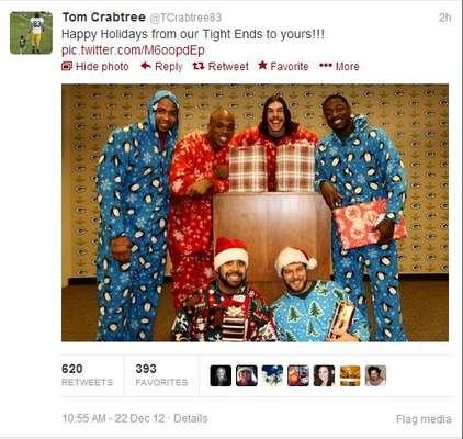 El ala cerrada de Green Bay, Tom Crabtree, les deseó a todos sus fans una muy feliz Navidad de una forma bastante peculiar.